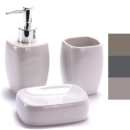 MSV MS1211/140449-3 recipientes de cerámica para baño plato dejabón, dispensadores y