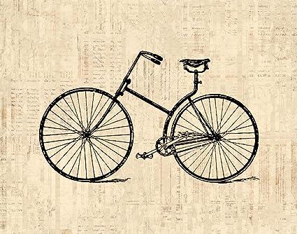 Amazon Com Antique Bicycle Wall Art Print Vintage Transportation