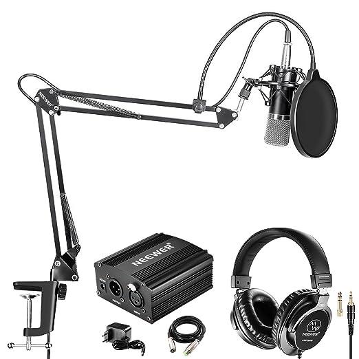 Neewer NW-700 Pro Micrófono de Condensador y Auriculares de Monitor con 48V Phantom Fuente de Alimentación, Boom Brazo, Montura de Choque y Filtro Pop ...