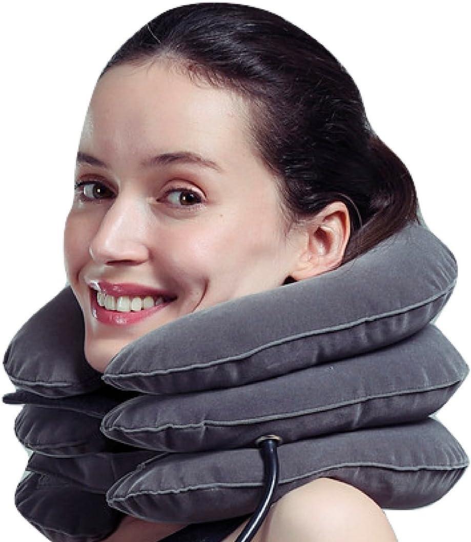 MEDIZED El dispositivo inflable de la tracción del cuello cervical mejora la alineación de la espina dorsal Reduce el dolor de cuello El collar cervical ajustable COLOR GRIS