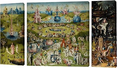 Fajerminart 3 Paneles Cuadro De Madera Pintura - Famous The Garden of Earthly Delicias Cielo/Mundo/Infierno Cuadro En Lienzo Tamaño Total 90x50cm (20x50cm + 50x50cm + 20x50cm)(Marco De Madera): Amazon.es: Hogar