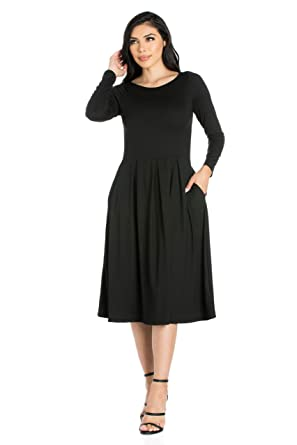 95ea08765fa 24seven Comfort Apparel Women s Clothes Long Sleeve Fit and Flare Midi Dress  with Pockets - Made