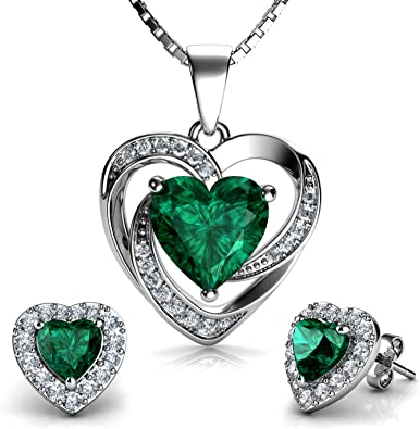 Double Love Heart Pendant 925 Sterling Silver DEPHINI Green CZ Crystals A+ Cubic Zirconia 18 Rhodium Plated Silver Chain Gifts for Women Fine Jewellery Woman Necklace Heart Necklace