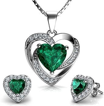 DEPHINI - Juego de collar y pendientes de corazón verde - Plata de ley 925 - Pendientes de cristal y piedra natalicia - Juego de joyería fina para mujer - Circonita cúbica