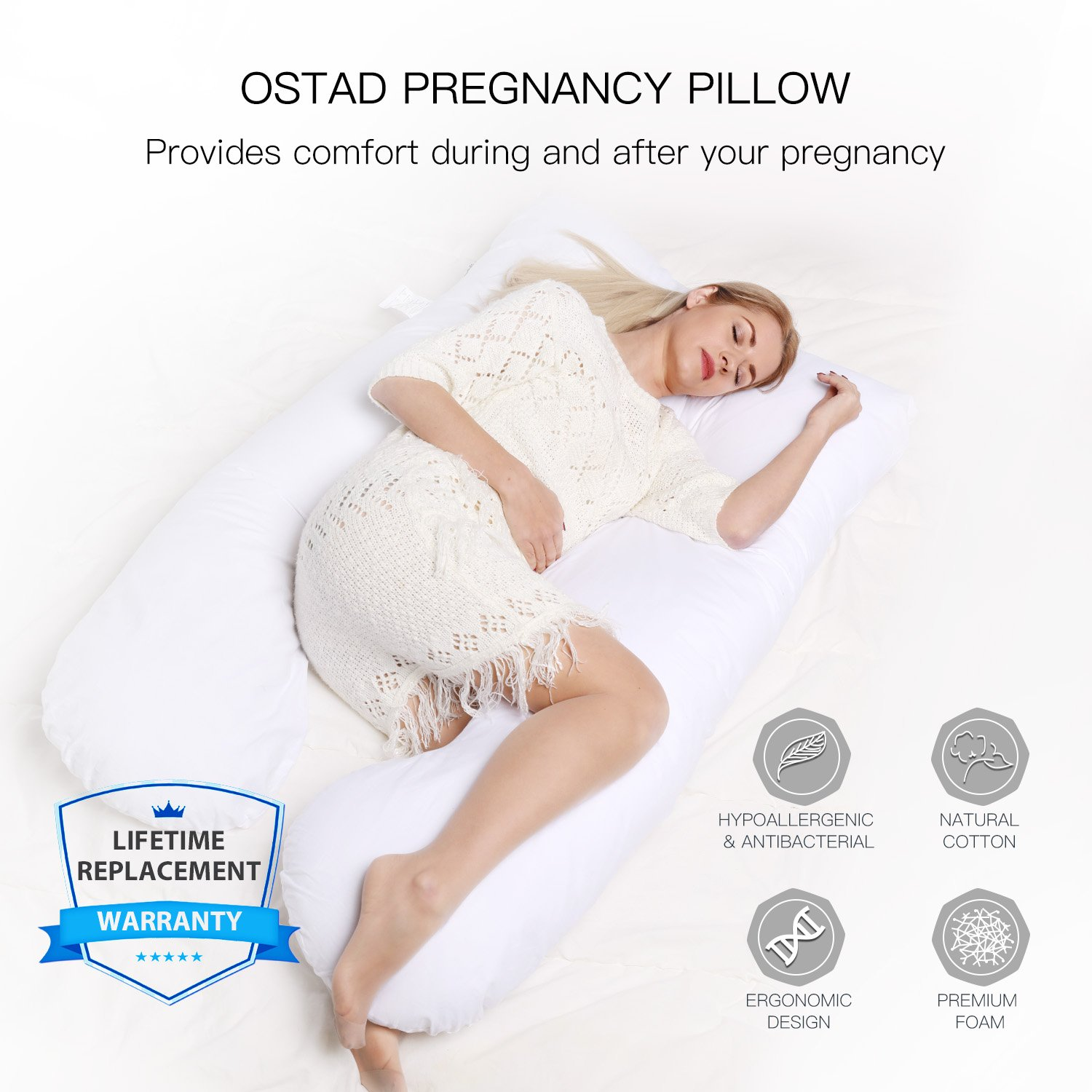 Pregnancy Pillow - U-Shaped Body Pillow for Maternity & Nursing | Luxurious Full Support for Resting or Sleeping on Your Back, Side or Any Natural Position | Relief for Hip & Back Pain, Sciatica