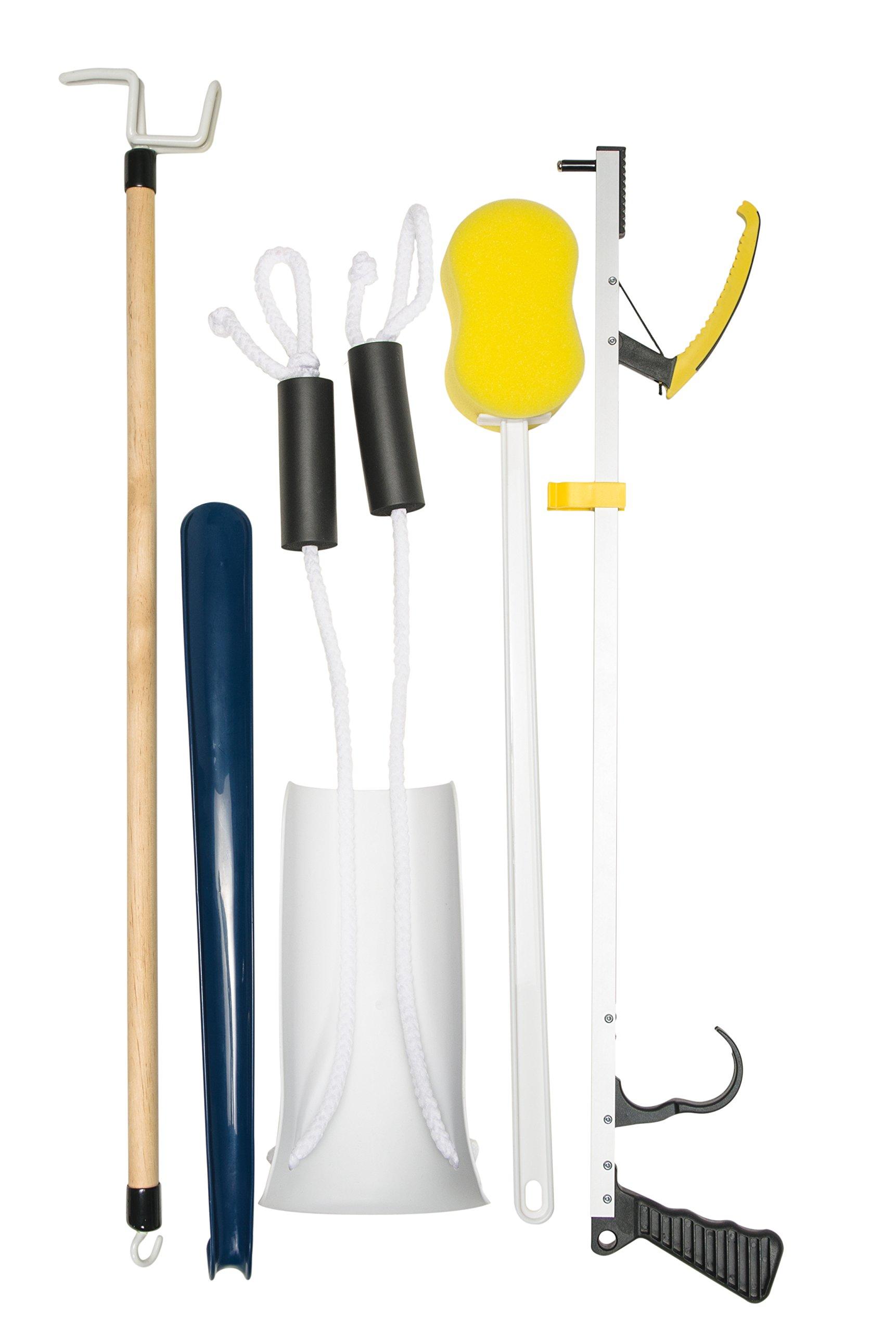 Lumex Hip Kit-Post Surgery with Dressing Stick, Sock Aid, Shoe Horn, Reacher, Long Handle Sponge, 1 Pound by Lumex (Image #1)