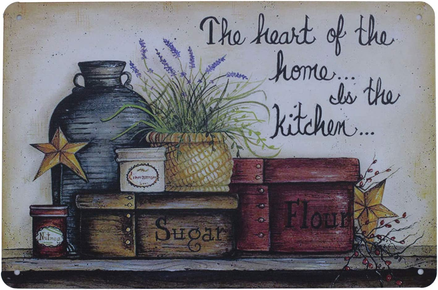 UOOPAI The Heart of The Home is Kitchen Metal Tin Sign, Vintage Plate Plaque
