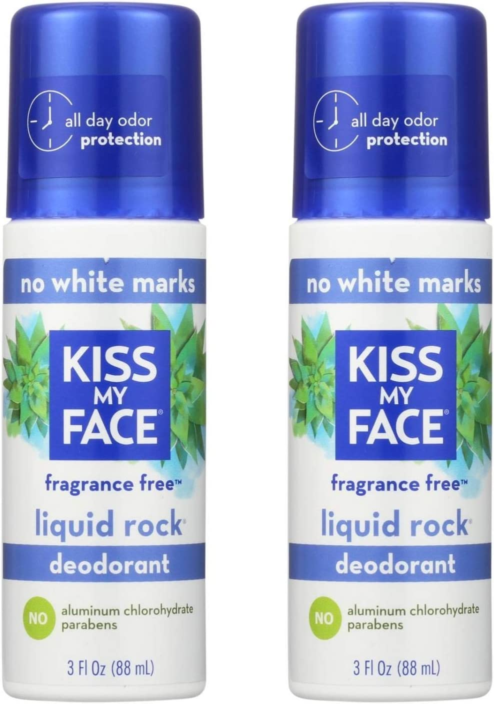 Kiss My Face, Natural Liquid Rock Deodorant, No Fragrance, 3 fl oz (88 Milliliter). Pack of 2