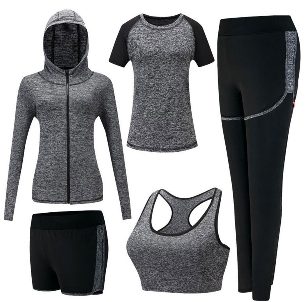Onlyso Women's 5pcs Sport Suits Fitness Yoga Running Athletic Tracksuits (M, Grey)