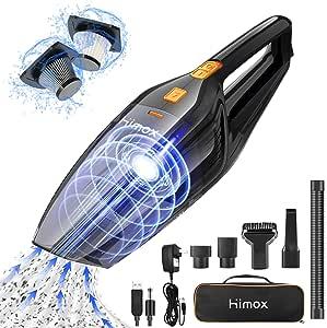 HIMOX Aspirador de Mano Sin Cable Potente de 8000Pa Aspiradora Inalámbrico Recargable Portátil con 2 Filtro 120W/2500mAh Mini Aspirador de Mano Seco y Húmedo para Casa Coche Oficina: Amazon.es: Hogar