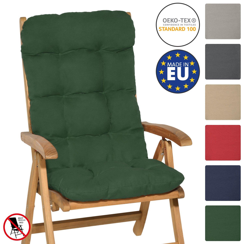 Beautissu High Back Chair Cushion Flair HL 120 x 50 x 8 cm Recliner Garden Chair Pad Soft Foam Flakes Natural