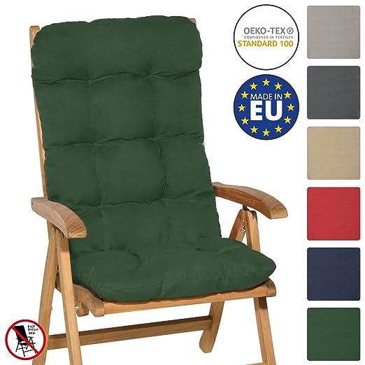 Beautissu Flair HL - Cojín para sillas de balcón o Asiento Exterior con Respaldo Alto - 120x50x8 cm - Verde Oscuro