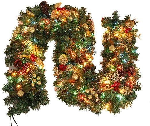 Corona de Navidad Pre-encendido guirnaldas de Navidad for Chimenea Escaleras 9 pies decoración verde Coronas