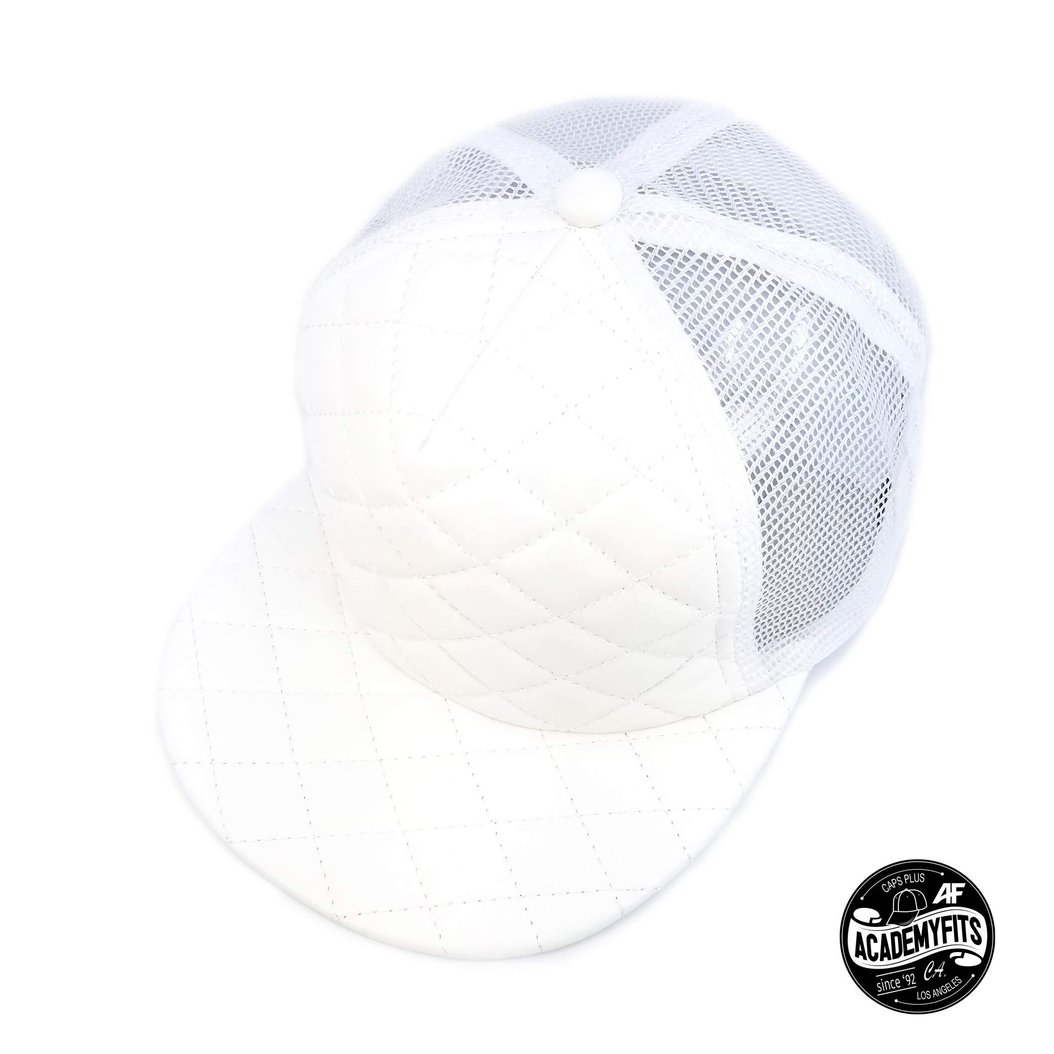 AcademyFits Quality 5 Panel High Crown Foam Quilted Trucker Mesh Snapback Adjustable Fit Men Women Unisex Flat Visor Baseball Hat Cap (White)