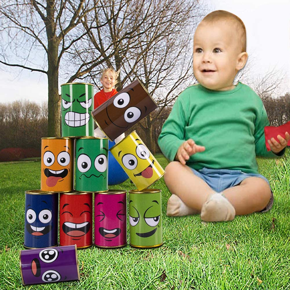 10 Tin Cans and 4 Beanbags Adecortalk Carnival Games Bean Bag Toss Games for Kids and Adults Carnival Family Birthday Party Indoor Outdoor Games Supplies