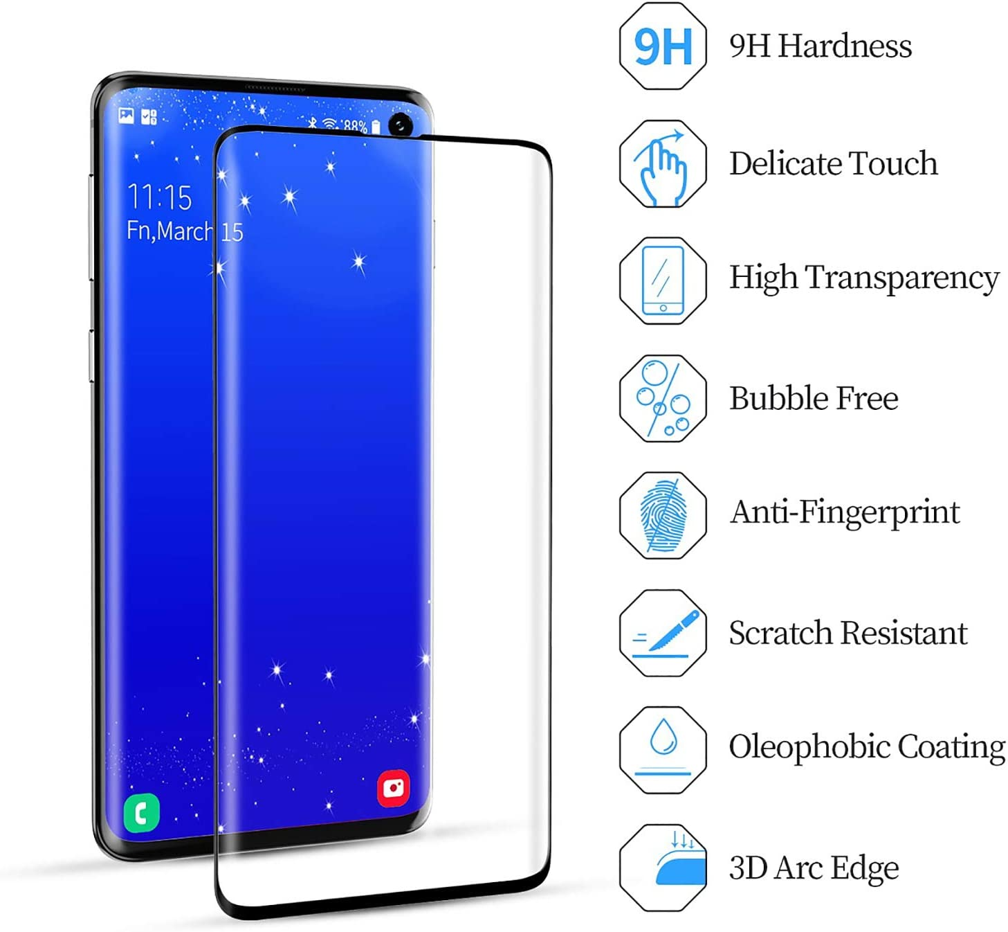 Anti-Bubbles High Definition Screen Protector for Galaxy S10 9H Hardness JEHOO Samsung Galaxy S10 Screen Protector,2 Pack Tempered Glass Screen Protector