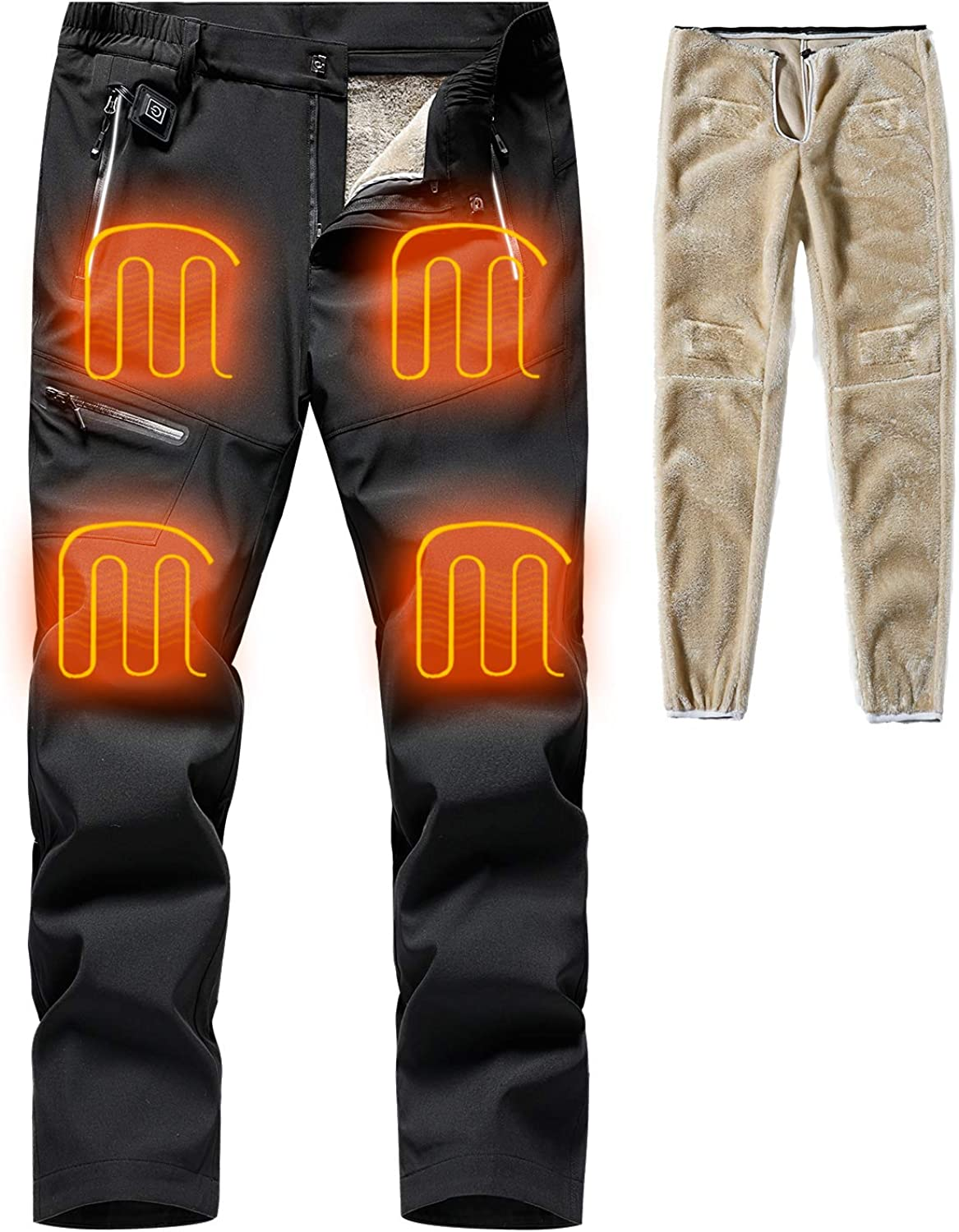 MOERDENG Men's Heated Ski Pants Insulated Washable Heating Warm Trousers Thermal Bottoms