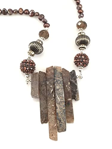 Image Unavailable. Image not available for. Color  Brown Stone Dagger with  Fresh Water Pearl Necklace 6f5edba5a52