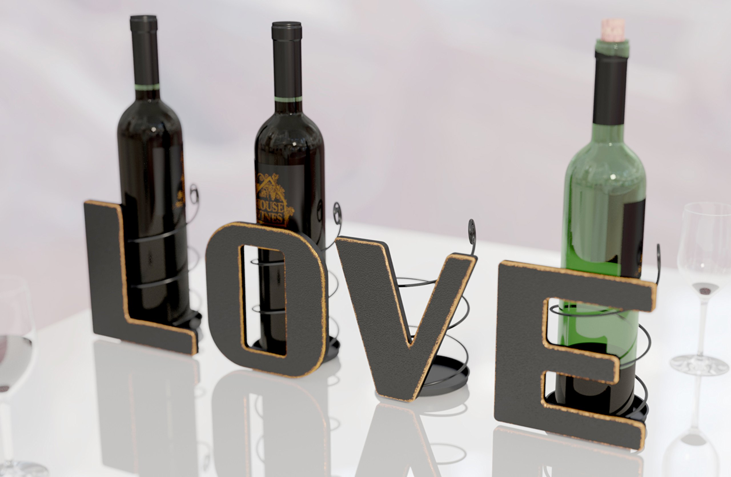 LOVE Letter Wine Bottle Holder Art Décor ~ Metal ~ All 4 Letters LOVE ~ Gifts for Wine Lovers ~ Includes Sample Silicone Wine Glass Charm - by HouseVines
