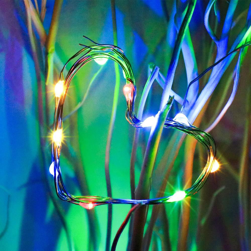 d/écoration color/ée Festival f/ête TingMiao Lot de 6 guirlandes Lumineuses /étoil/ées avec 20 Mini guirlandes en Fil de cuivre Argent/é /à Piles /à LED pour Mariage