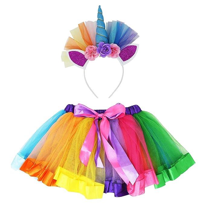 Amazon.com: Ryjad - Falda tutú con diseño de arcoíris con ...