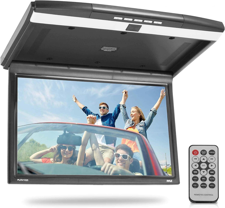 15.6-Inch Overhead Flip-Down Car Monitor - Hi-Res 1680x800p Widescreen Car Roof Mount Monitor, Vehicle Flip Down Overhead Screen w/IR, FM Transmitter, USB/SD, HDMI, AV, Stereo Speaker - Pyle PLRV1525