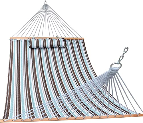 Prime Garden Quilted Fabric Hammock with Pillow, Hardwood Spreader Bars, 2 People Blue Brown