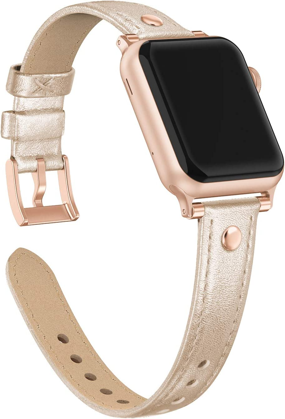 Bandiction Rivets Leather Band Compatible with Apple Watch Band 38mm 40mm, Slim Dual Bead Genuine Leather Band Strap for iWatch 5 4 3 2 1 (Champagne Gold)