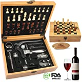 Yobansa kit apertura vino 9 pezzi in acciaio inossidabile, accessori per vino/birra, set regalo unico per gli amanti del vino bamboo box chess set