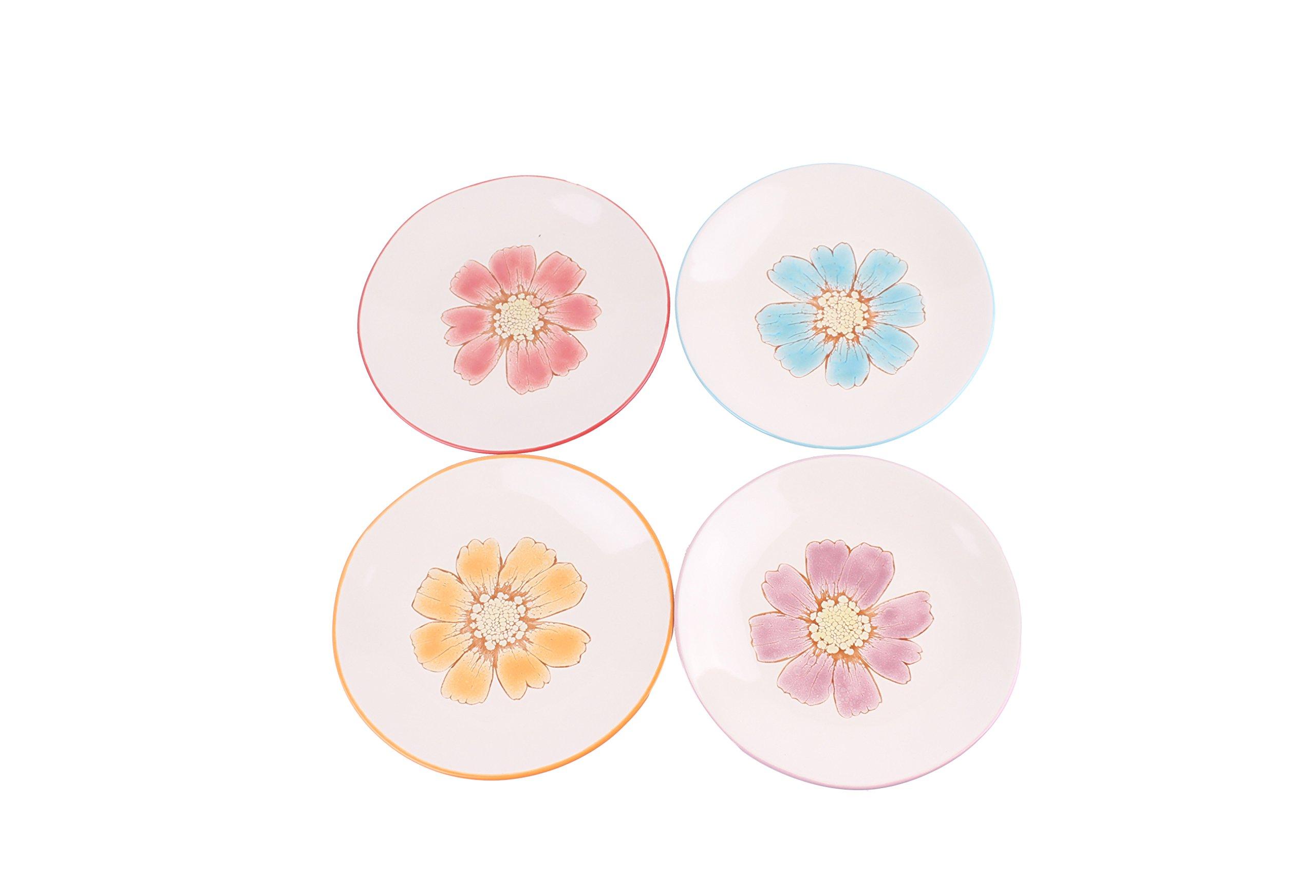 Blue Sky Ceramic Vibrant Daisy Appetizer Plates (Set of 4), 6.5'' by Blue Sky Ceramic