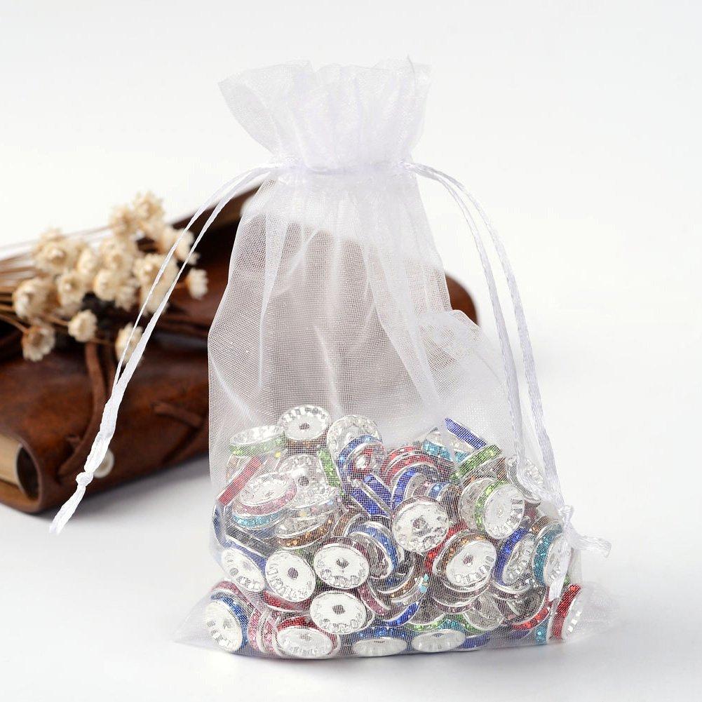 NBEADS - 200 Bolsas de Organza Blancas para Boda, Joyas, Bolsas de Regalo para Fiesta, Boda, 12 x 10 cm
