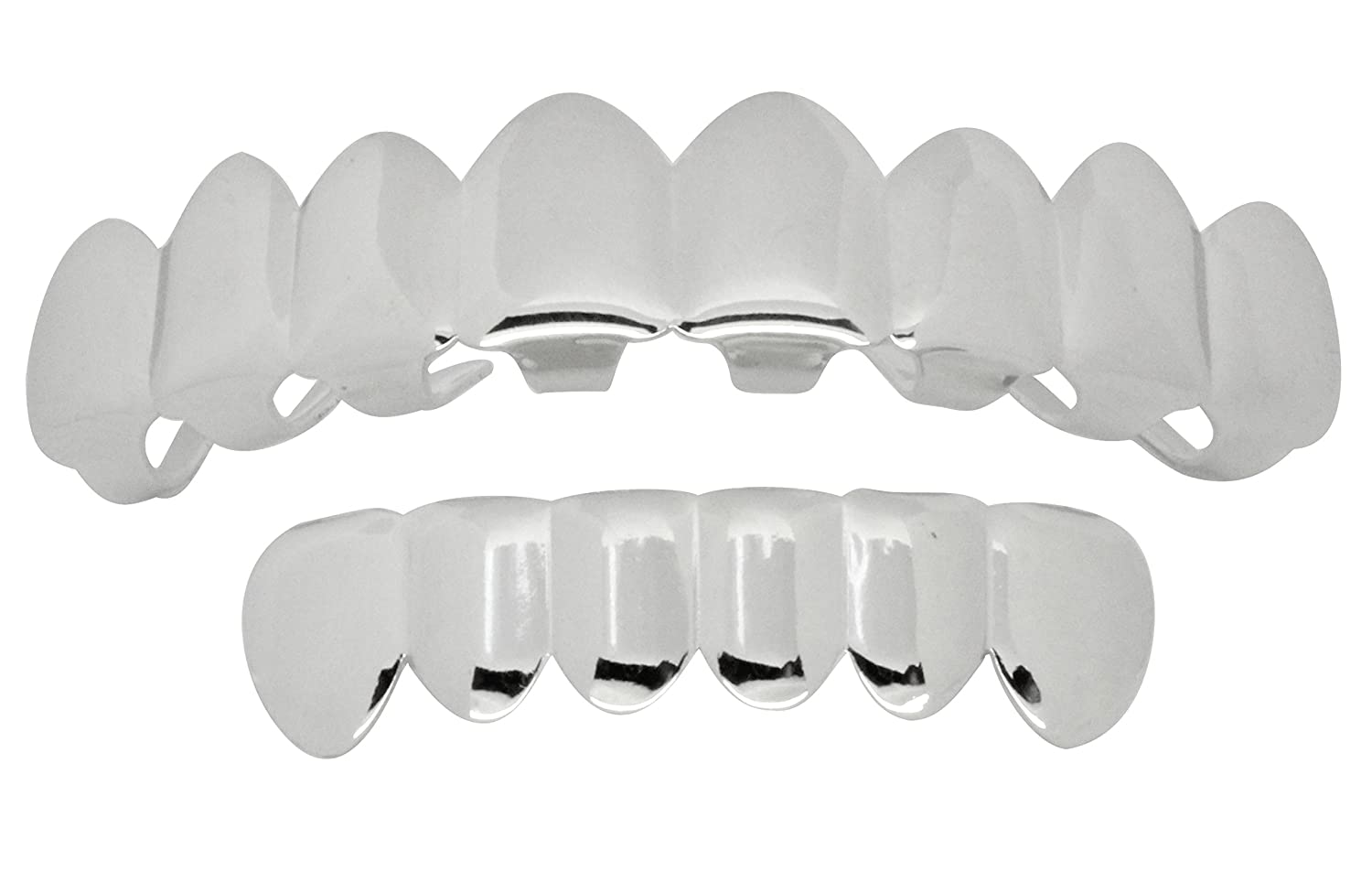 NewAgeBling Grillz Set 8 Teeth Top 6 Bottom Silver Tone Grills w/Molds Hip Hop Mouth Best Grillz 187