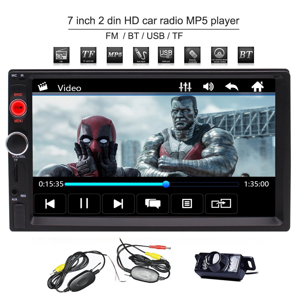 EinCar Bluetooth 2 Din Car Stereo with Rear Camera Support Front USB /TF Port FM AUX Input 7 Inch Universal Digital HD Bluetooth Car Radio MP5 Player Multimedia Radio Entertainment with Rear Camera