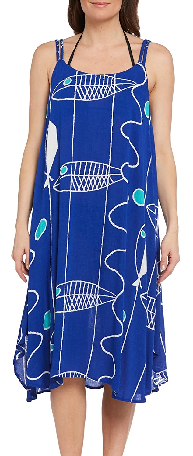 Kaktus Women's Double Strap Resort Swim Cover Up Trapeze Dress- Plus
