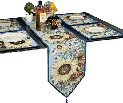 table runner with placemats teal meiduoduo decorative table runner placemats golden sunflower theme cotton soft cloth coffee mats cup amazoncom and grape