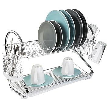 Amazon Com Home Basics 2 Tier S Shape Dish Drainer Silver Chrome