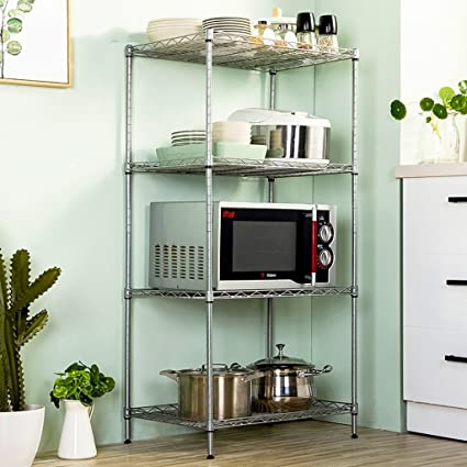 Amazon.com: kitchen shelf Clic Microwave Oven Rack with Spice ... on kitchen pot racks, kitchen sink racks, kitchen slide out racks, kitchen pantry racks, kitchen pan storage racks,