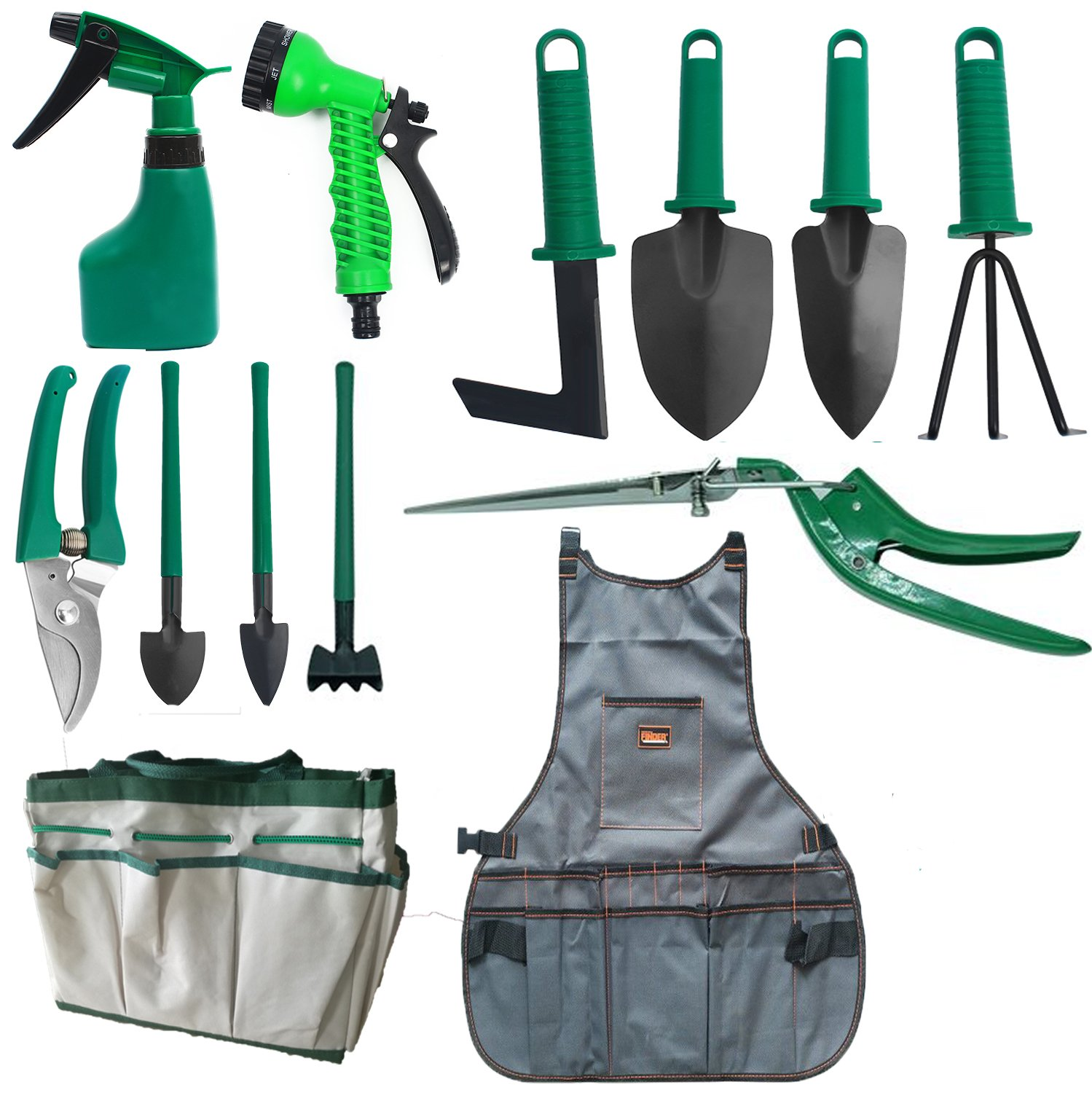 Garden Tool Set 13 Pieces Heavy Duty Gardening Gifts Kit With Garden Tote Bag, Canvas Apron,Pruning Shears - Best Gift For Gardener Father's Day by GreenKit