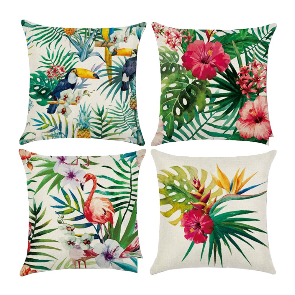 Assorted of 4PCS Wenyujh 4pcs Pillows Cover Decorations Decor Throw Pillow Case Sofa Waist Cushion Cover Home Decor Square 18 x 18inch