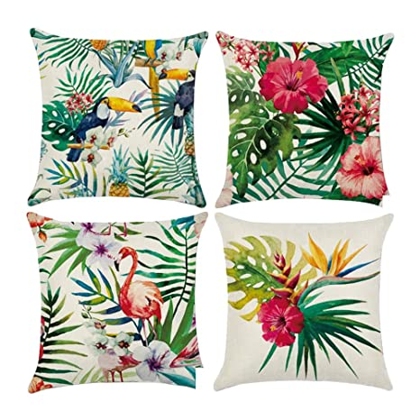 4 Pedazos Funda de Cojín Flamingo Patrón & Tropical Flor Palm Funda Cuadrada Decorativas de Almohada Lumbar para Sofá, Cama(45x45cm, Paquete de 4)