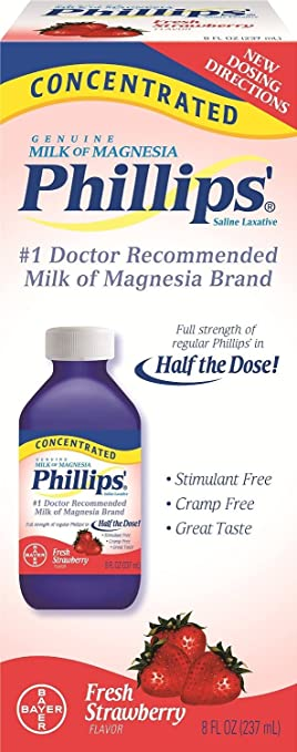 Phillips Concentrated Milk of Magnesia, Fresh Strawberry, 8 Ounces Per Bottle (4 Bottles