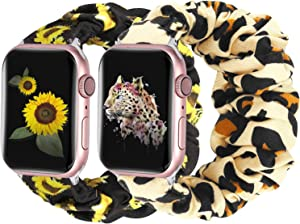 Moretek Scrunchie Watch Bands Compatible with Apple Watch Band 38mm 40mm,Soft Pattern Printed Fabric Sport Replacement Wristbands Women for iWatch Series 6 5 4 3 2 1 SE