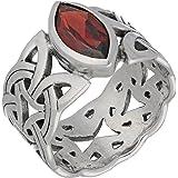 Borre Knot Garnet Ellipse Viking Braided Wedding Band Norse Celtic Sterling Silver Ring(Sizes 4,5,6,7,8,9,10,11,12,13,14,15)