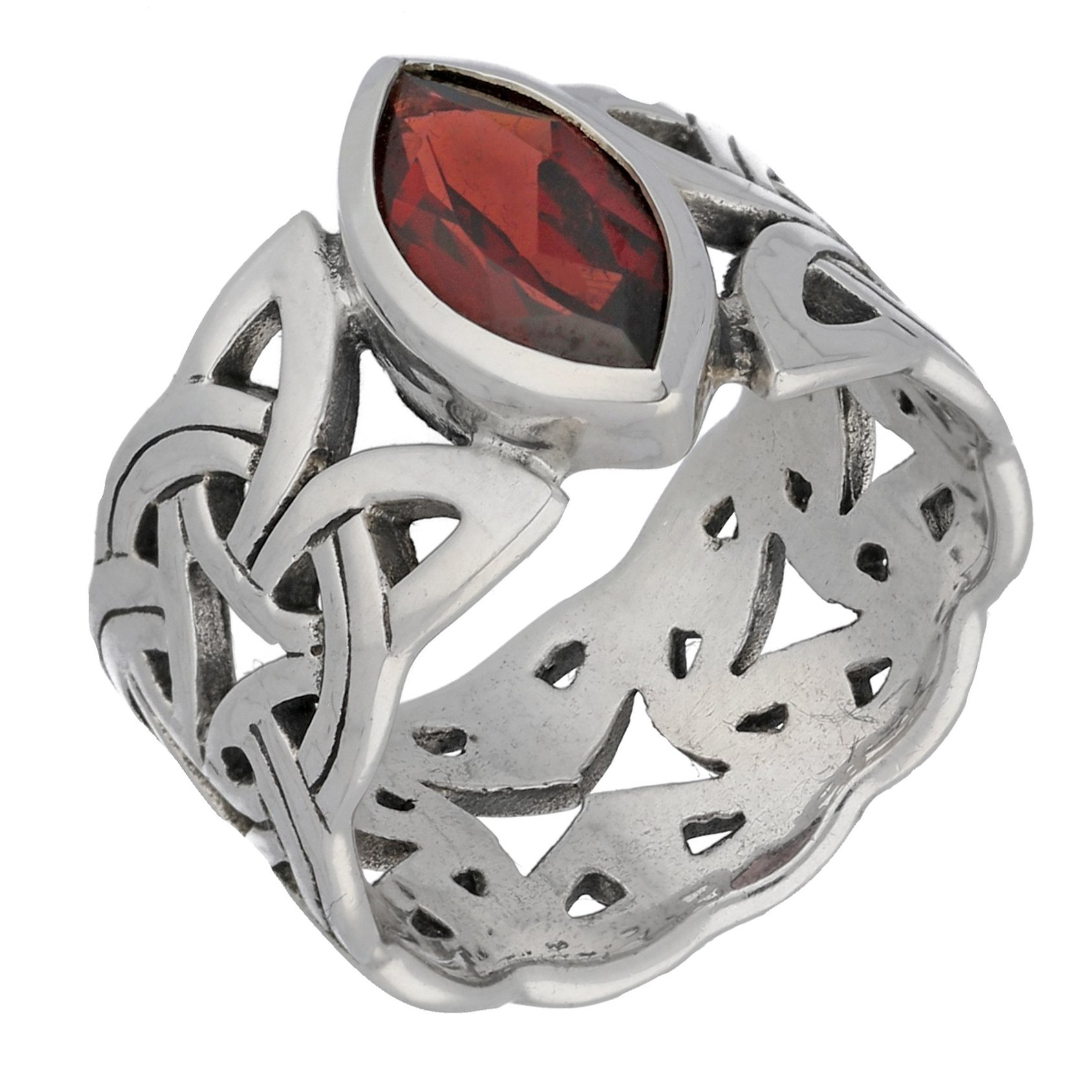 Borre Knot Deep Red Garnet Ellipse Viking Braided Wedding Band Norse Celtic Sterling Silver Ring Size 10(Sizes 4,5,6,7,8,9,10,11,12,13,14,15)