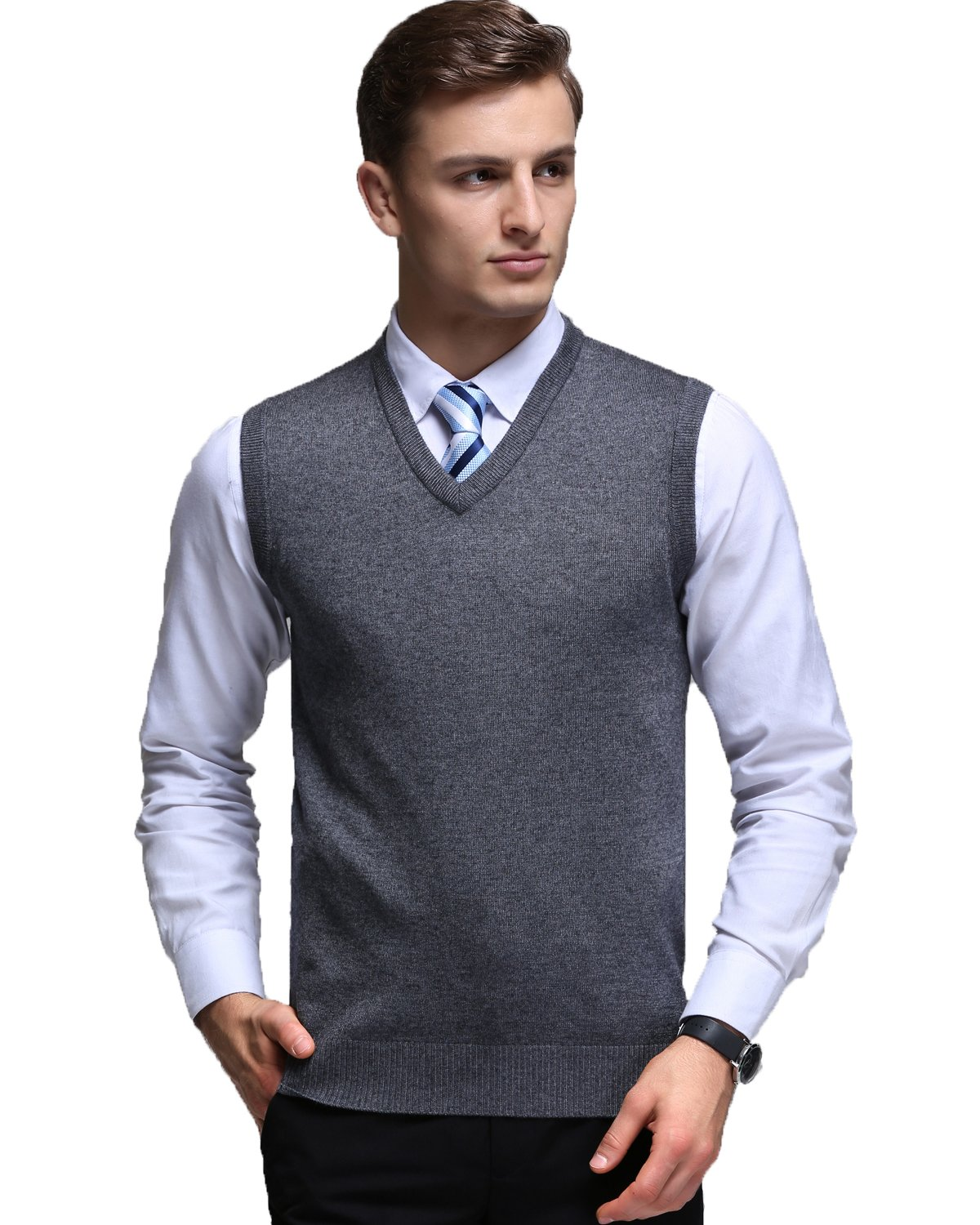 Kinlonsair Mens Casual Slim Fit Solid Lightweight V-Neck Sweater Vest,Dark Grey,X-Large(US)