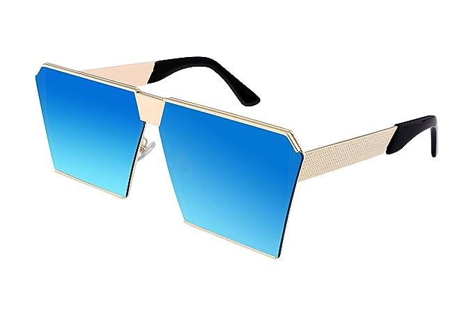 Amazon.com: feisedy ojo cuadrado espejo anteojos de sol ...