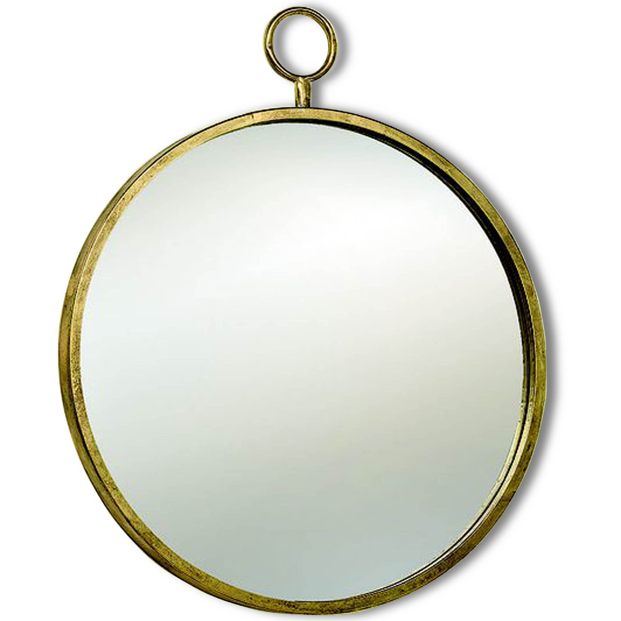 Iconic Pocket Watch Wall Mirror, Porthole Round Frame, Antique Gold Finish, Iron, Glass, 21 3/4 Diameter x 26 Inches Tall, From the Grand Tour Collection
