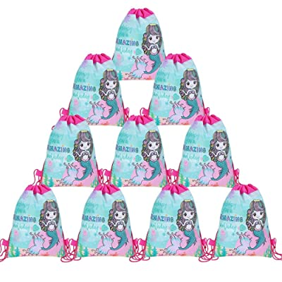12 Pack Mermaid Drawstring Party Bag, Mermaid Drawstring Backpacks Gifts Bags Birthday Under The Sea Party Supplies Favor Bag for Kids Children Girls Baby Shower Green: Clothing
