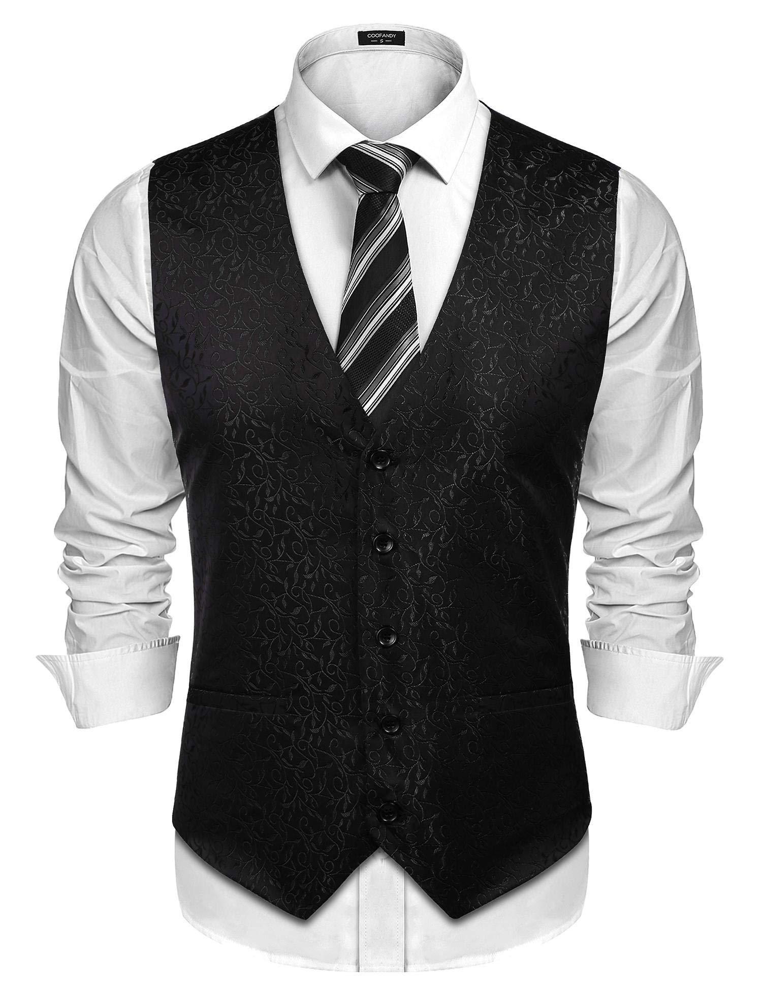 COOFANDY Men's Floral Party Vest Waistcoat V-Neck Dress Wedding Suit Tuxedo Vest