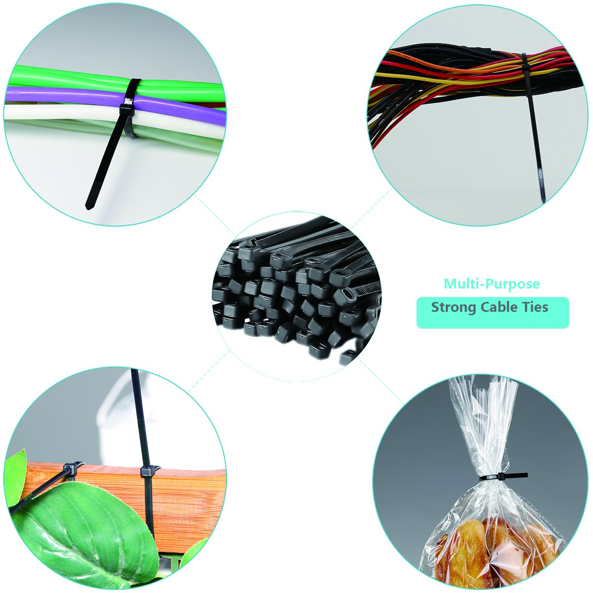 AMANEER Cable Zip Ties Black Flexible Nylon Wire Ties Ajustable Cable Cord Management For Electrical Accessories (500 Variety Pack) by AMANEER (Image #2)